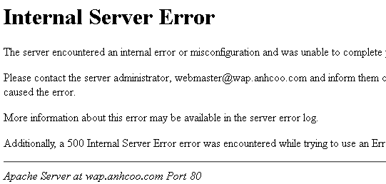 Lỗi 500 - Internal server error